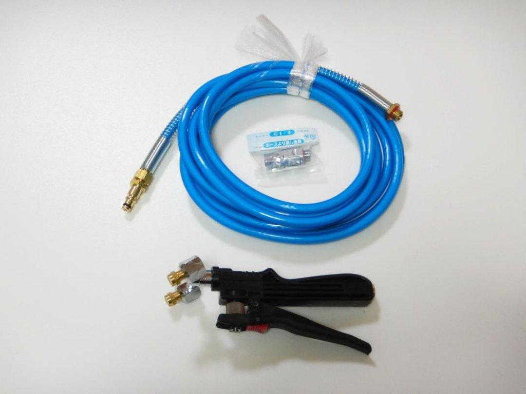 Hi-KOKI(旧日立工機) AW18DBL&AW14DBLコードレス高圧洗浄機共用 ☆消毒液ミスト用デュアルノズルチップ搭載ミスティングガン&専用ワンタッチプラグ付きホース (5m)の画像