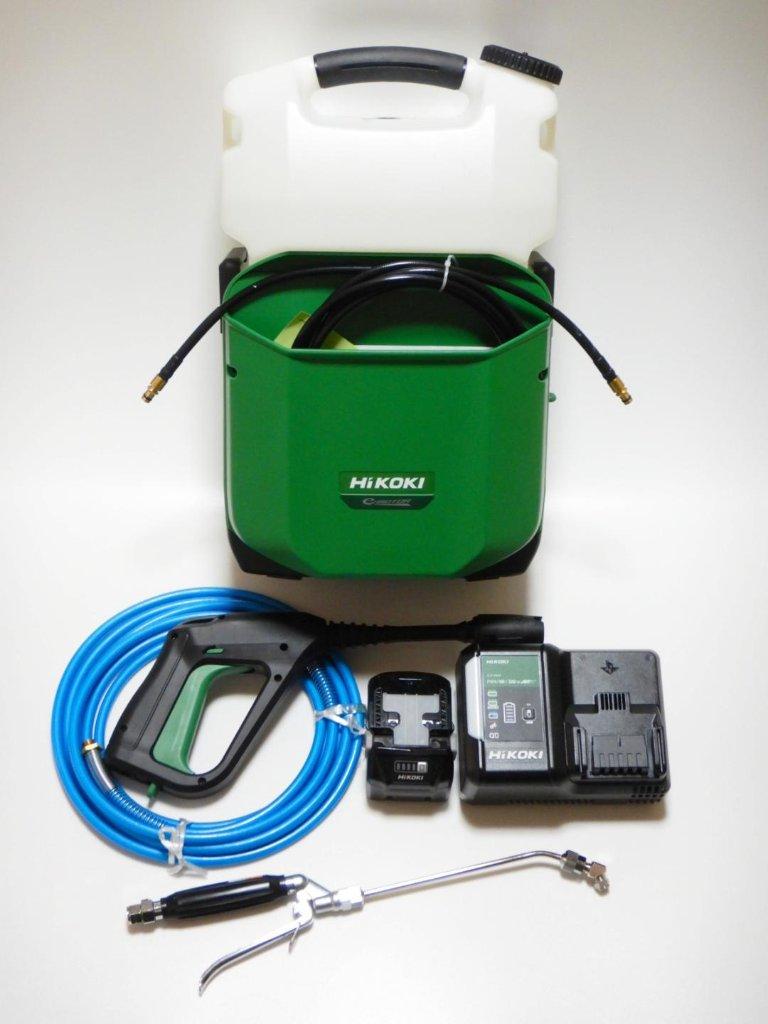 日立工機〘HiKOKI〙18Vコードレス高圧洗浄機AW18DBL(YLP) + エアコン洗浄用ガン&ホースセットの画像