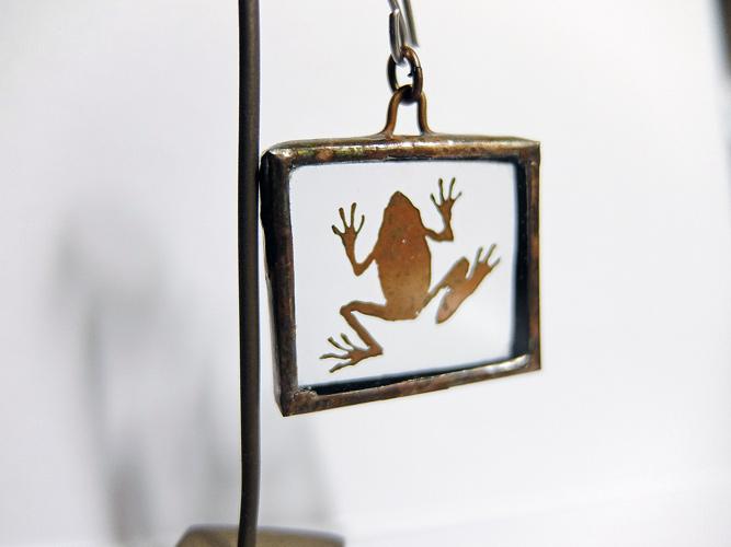 Copper pendant top Frog 蛙画像