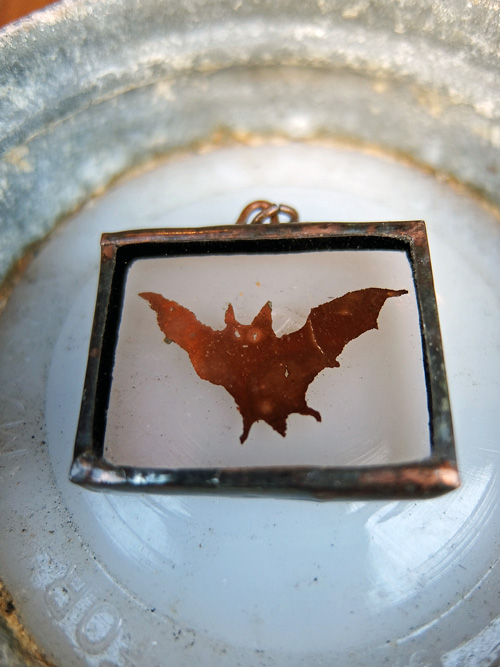 Copper pendaant top Bat 蝙蝠画像