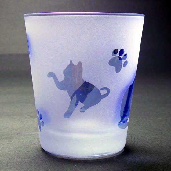 ネコのロックグラス ブルー色 ラスターガラス 蕨硝子画像