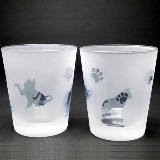 ネコのロックグラス ペアグラスセット ブルー色 ラスターガラス 蕨硝子画像