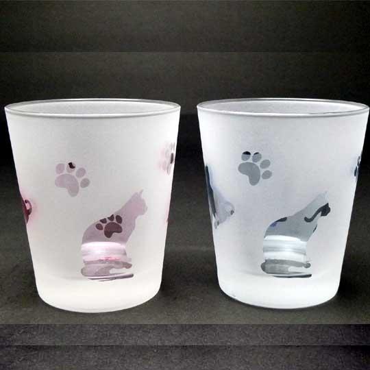ネコのロックグラス ペアグラスセット ピンク+ブルー色 ラスターガラス 蕨硝子画像