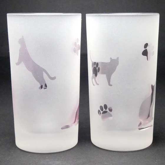 ネコのタンブラ- ペアグラスセット ピンク色 ラスターガラス 蕨硝子画像