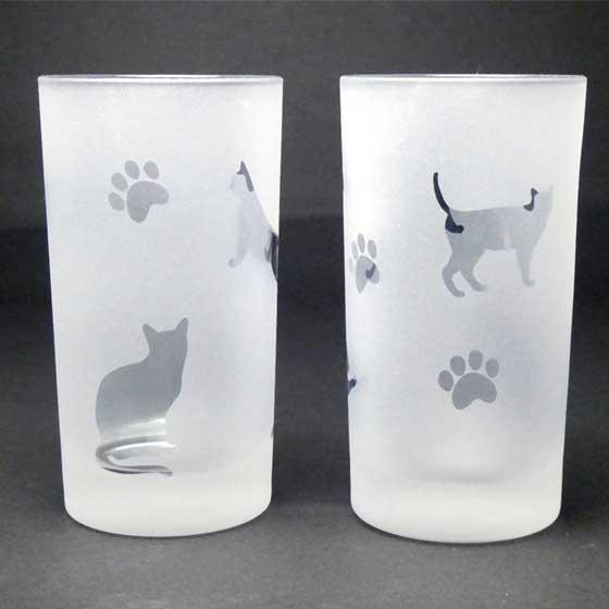 ネコのタンブラ- ペアグラスセット ブルー色 ラスターガラス 蕨硝子画像