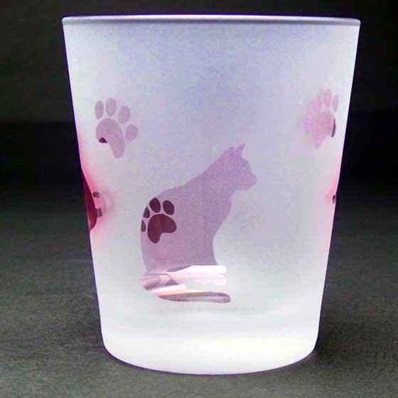 名入れ商品 ネコのロックグラス ピンク色 ラスターガラス 蕨硝子画像