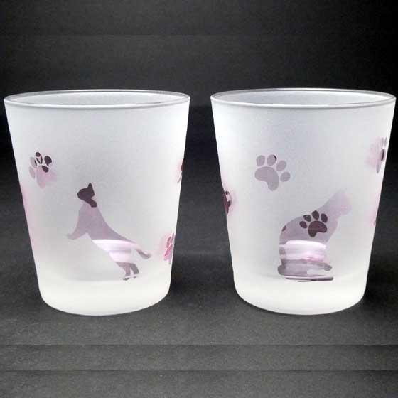 名入れ商品 ネコのロックグラス ペアセット ピンク色 ラスターガラス 蕨硝子画像