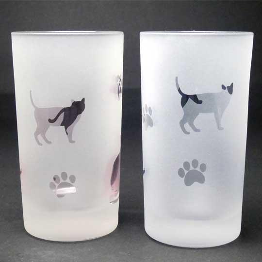 名入れ商品 ネコのタンブラー ペアセット ピンク+ブルー色 ラスターガラス 蕨硝子画像
