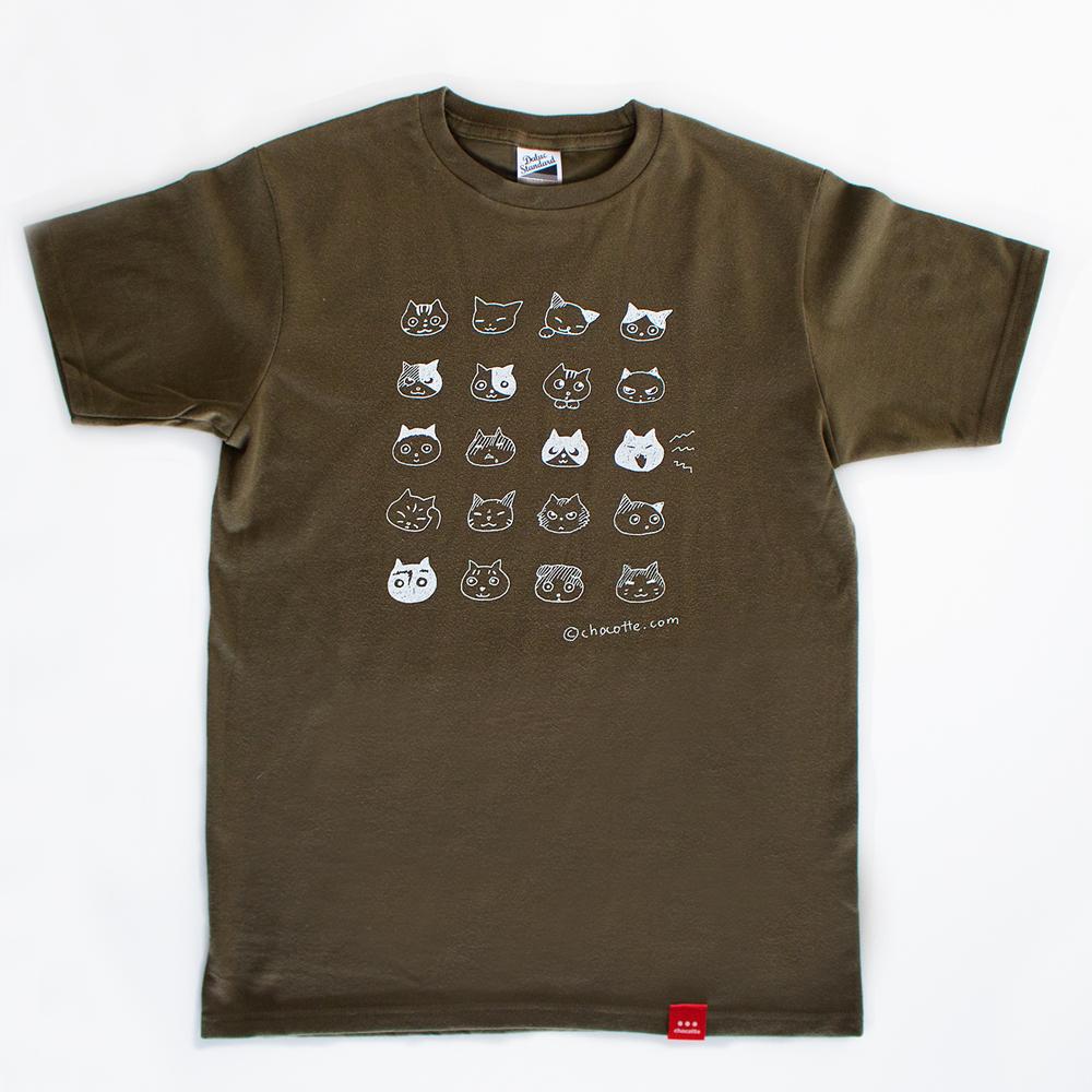 ねこのかおTシャツ(オリーブ)の画像