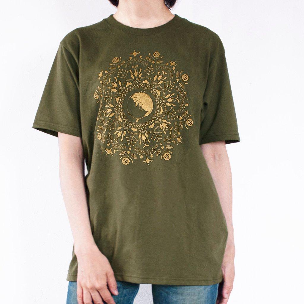 ねこの曼荼羅mandala Tシャツ(オリーブ)の画像