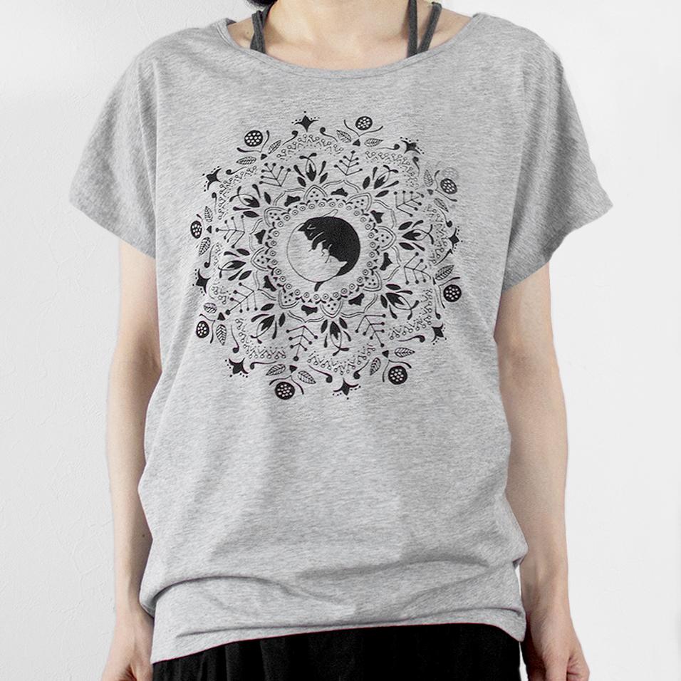 ねこの曼荼羅Tシャツ(グレー)の画像