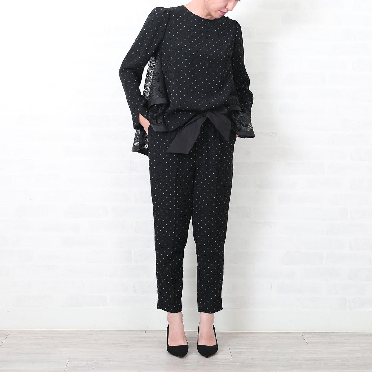 『Dress Knit』Dot black Back Tiered Lace Tops画像