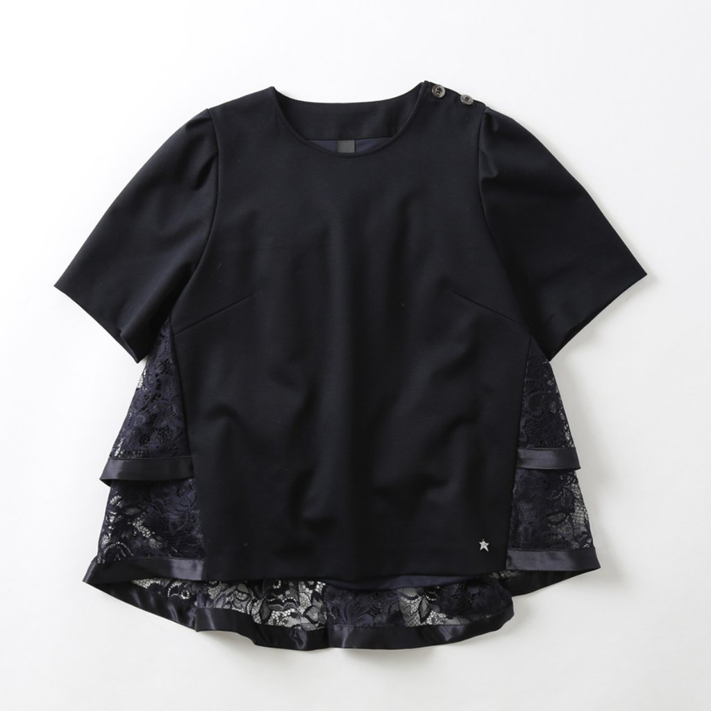 『Dress knit』 Back Tiered Lace Blouse NAVYの画像