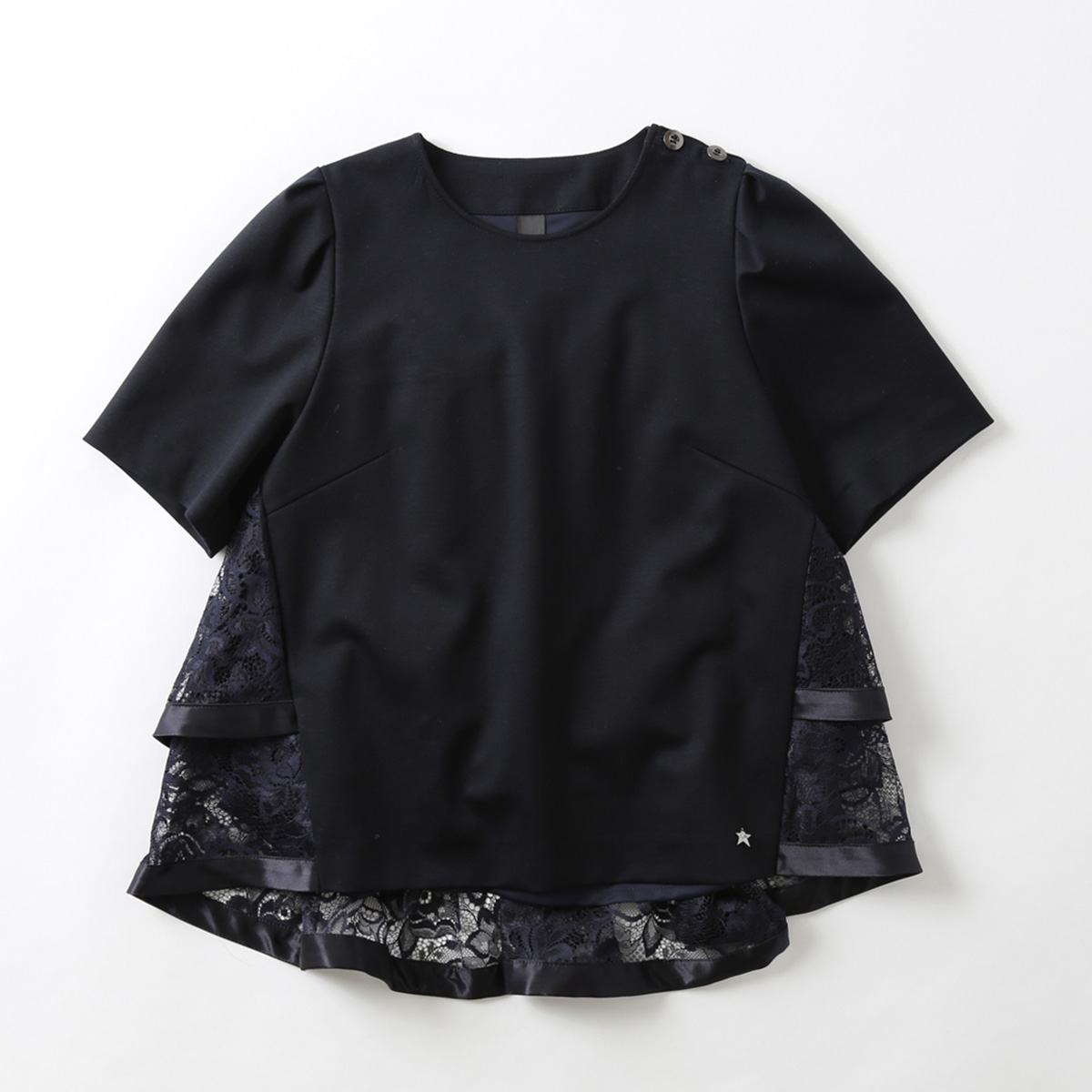 『Dress knit』 Back Tiered Lace Blouse NAVY画像