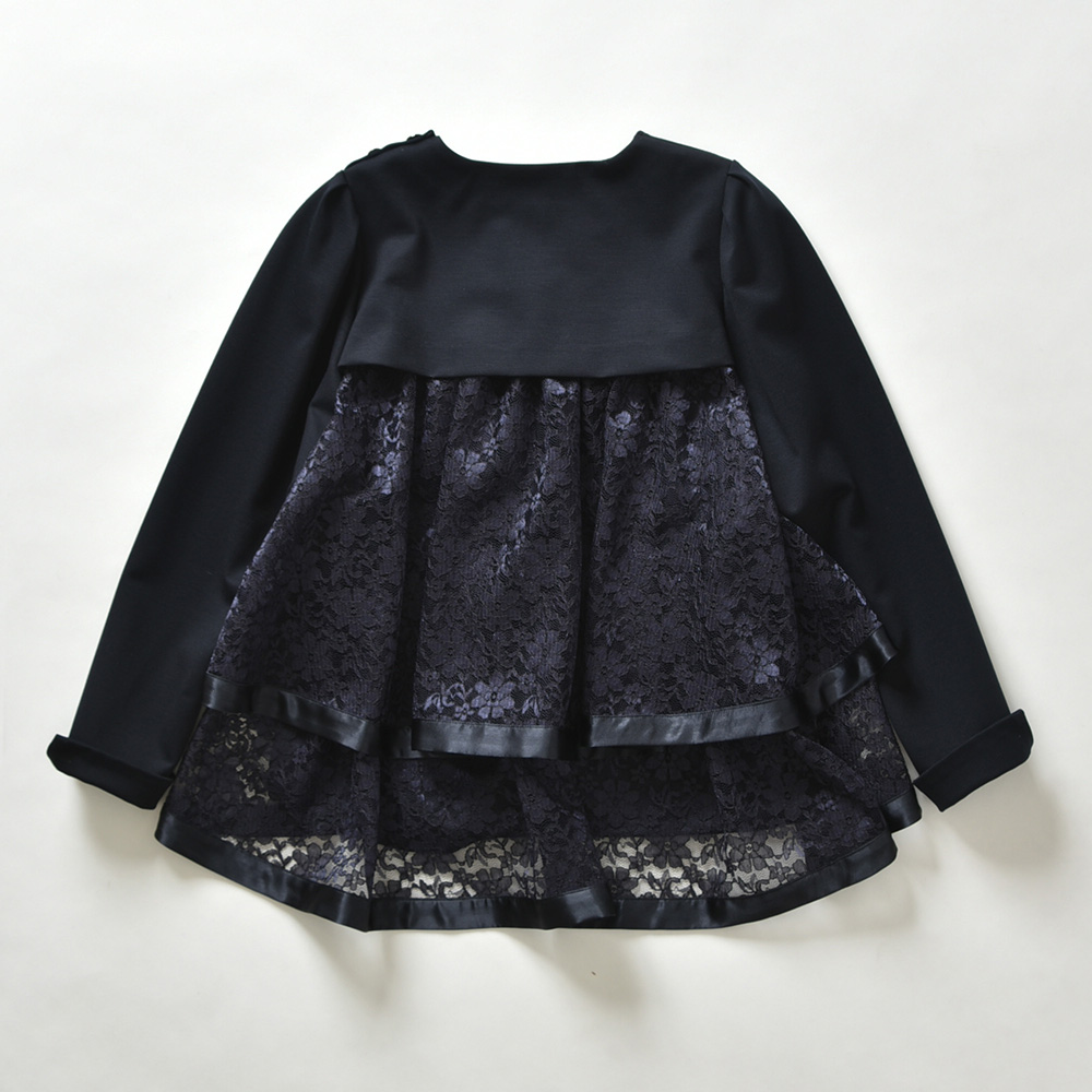 『Dress Knit』Back Tiered Lace Tops NAVYの画像