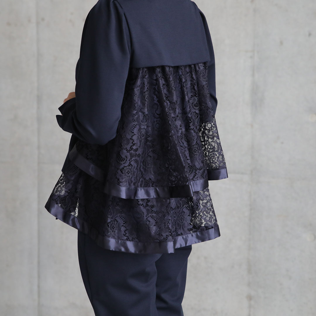 『Dress Knit』Back Tiered Lace Tops NAVY画像