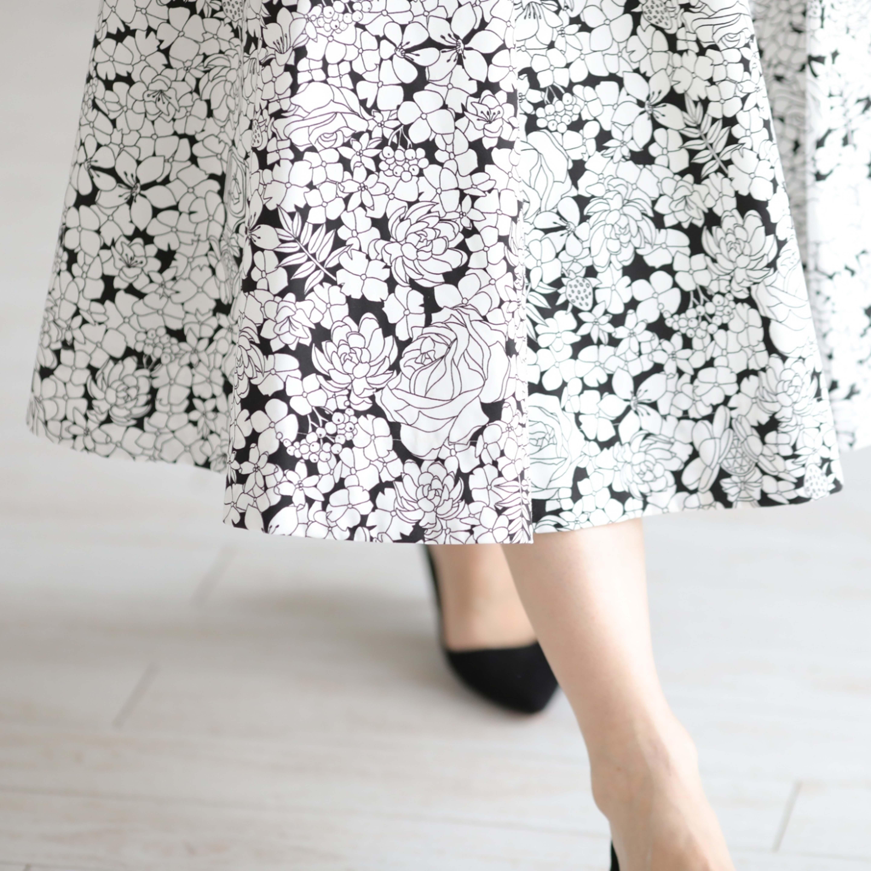 『sincere』 flare skirt WHITE×BLACK画像