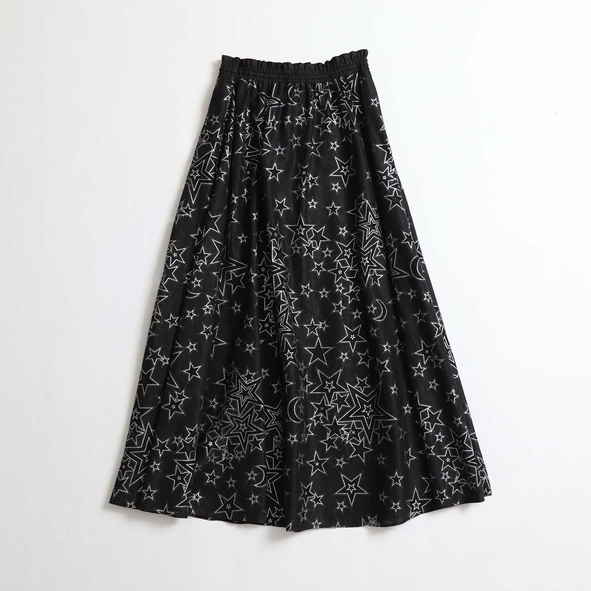 『blanche』 long skirt BLACK画像