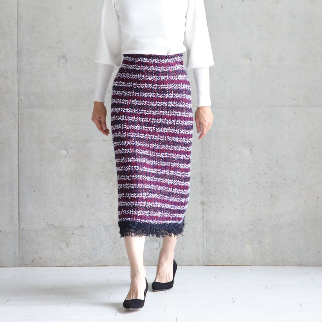 『Tweed knit』 knit skirt PINKの画像