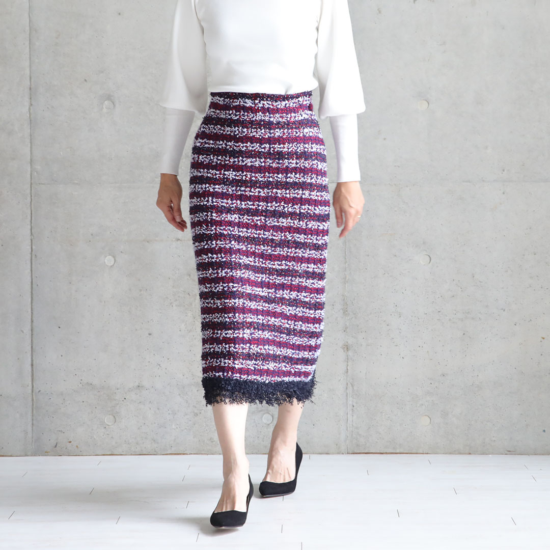 『Tweed knit』 knit skirt PINK画像