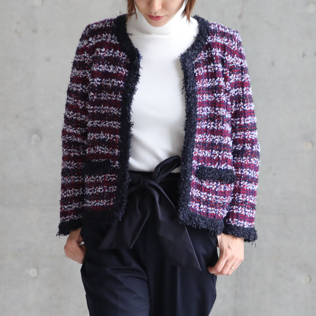 『Tweed knit』 knit jacket PINK画像