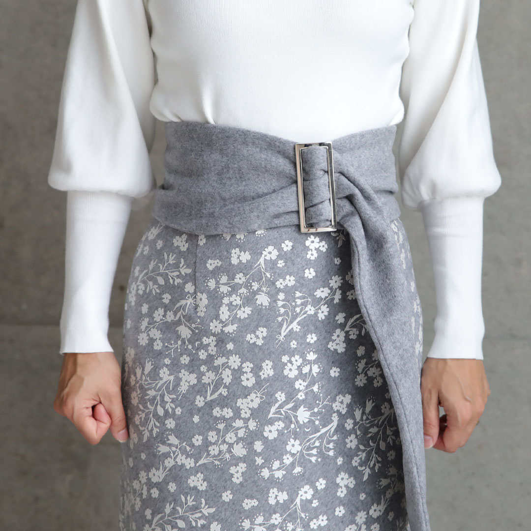 『Frozen flower melton』 Tight Skirt 【全2色】画像