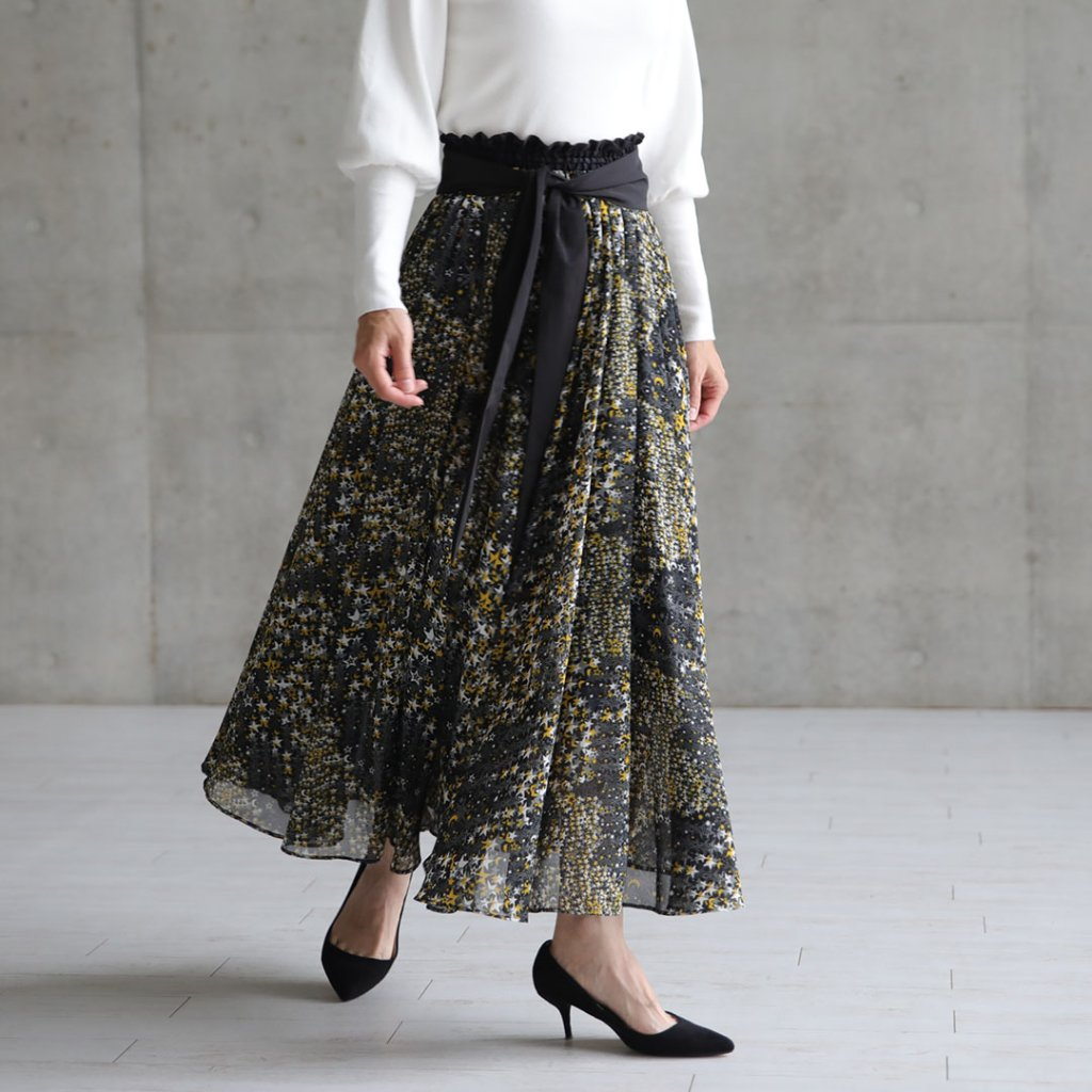 【10月18日発売予定】『Fly me to the moon』Chiffon long skirt【全2色】の画像