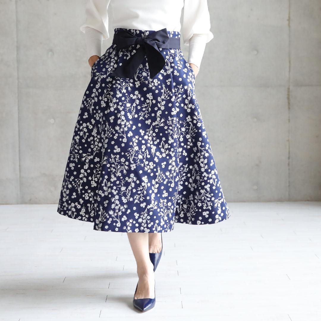 【9月下旬お届け予定】『Frozen flower twill』 Flare skirt 【全2色】画像