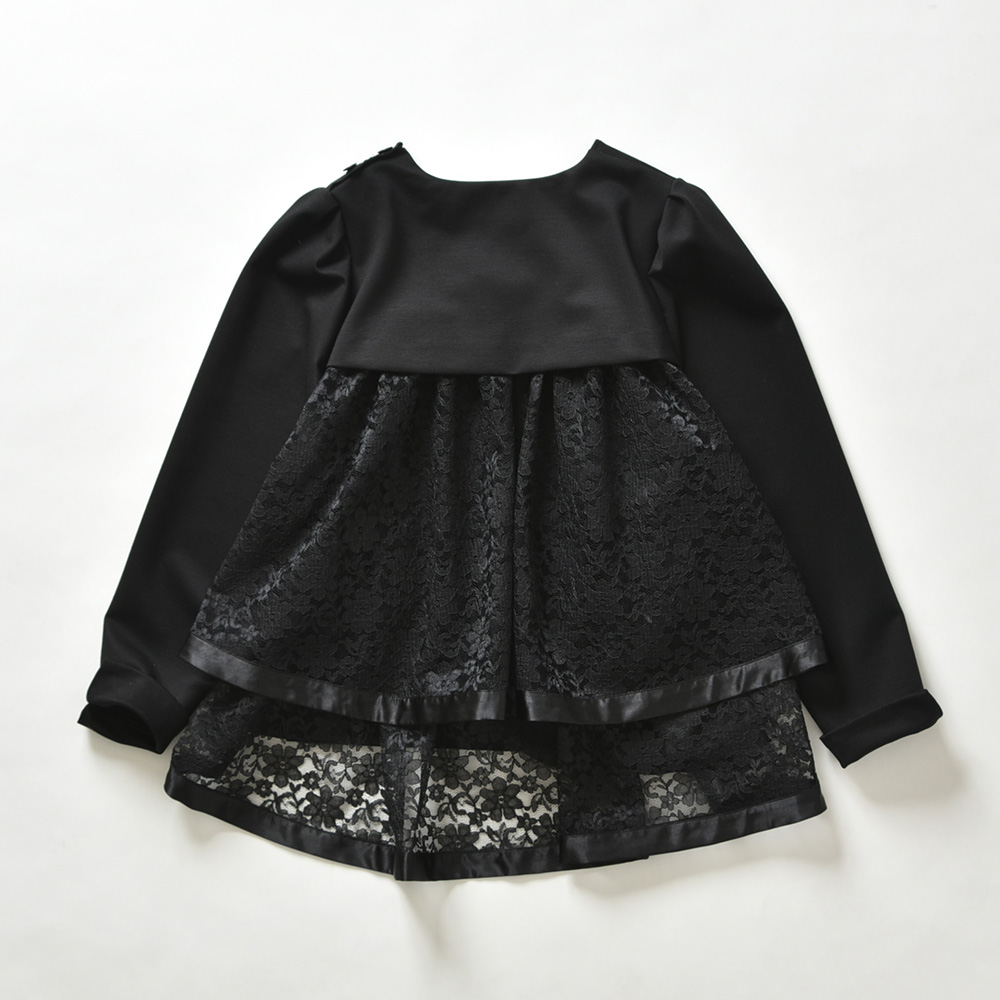 『Dress Knit』Back Tiered Lace Tops BLACKの画像