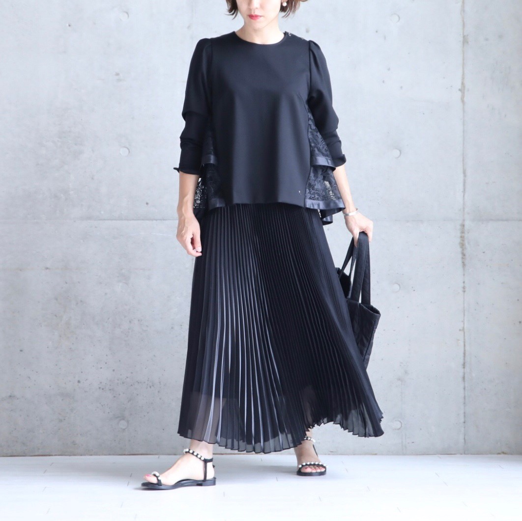 『Dress Knit』Back Tiered Lace Tops BLACK画像