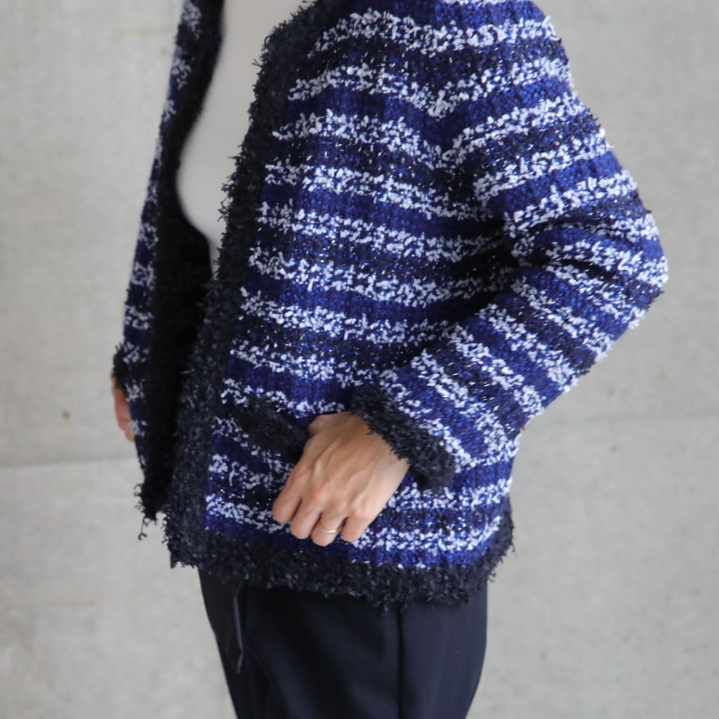 『Tweed knit』 knit jacket BLUEの画像