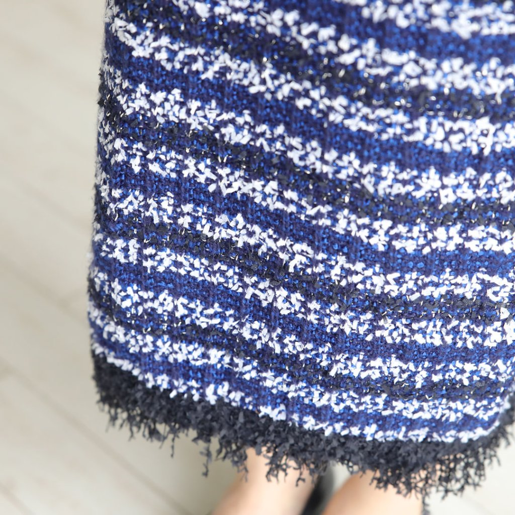 『Tweed knit』 knit skirt BLUEの画像
