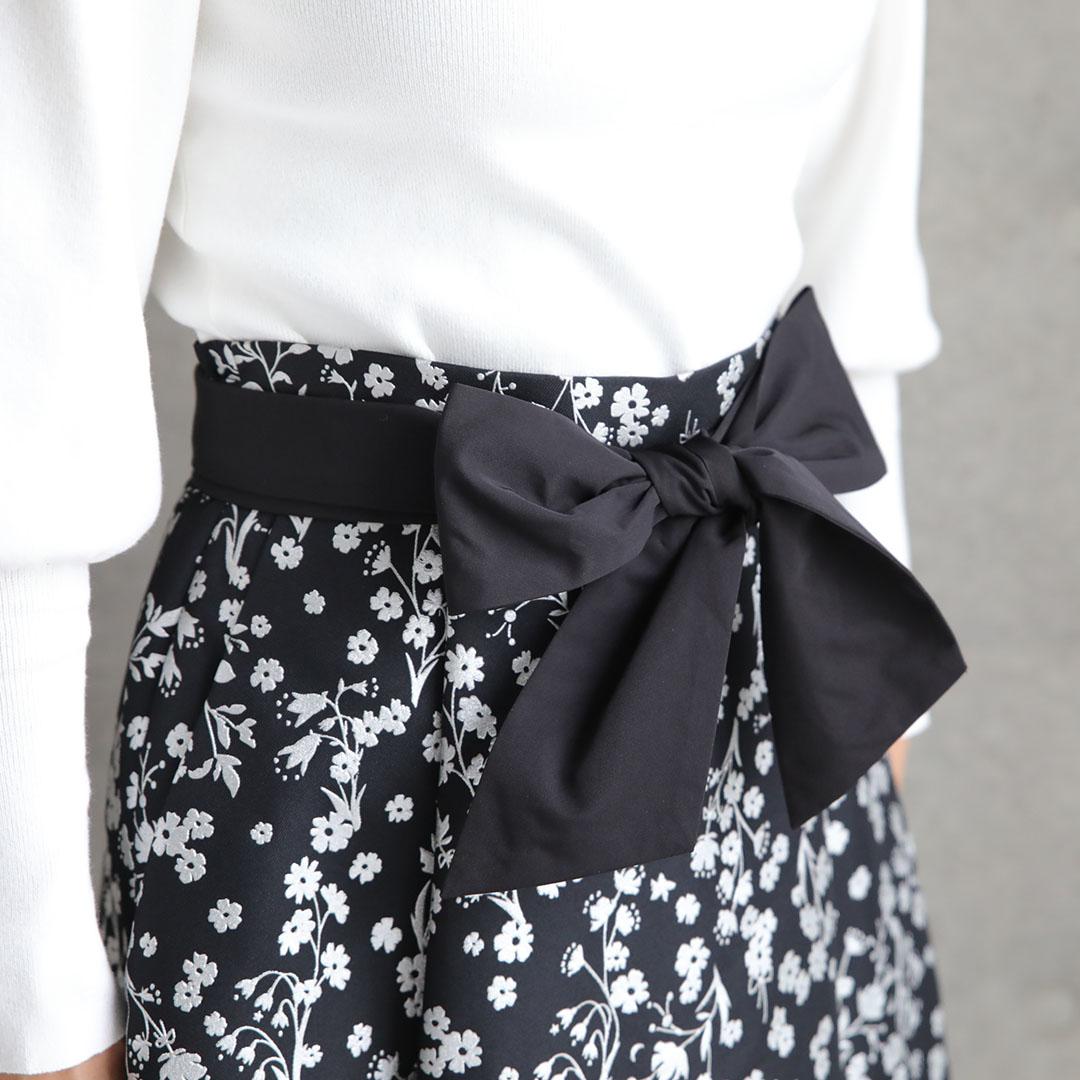 『Frozen flower twill』 Flare skirt BLACK画像