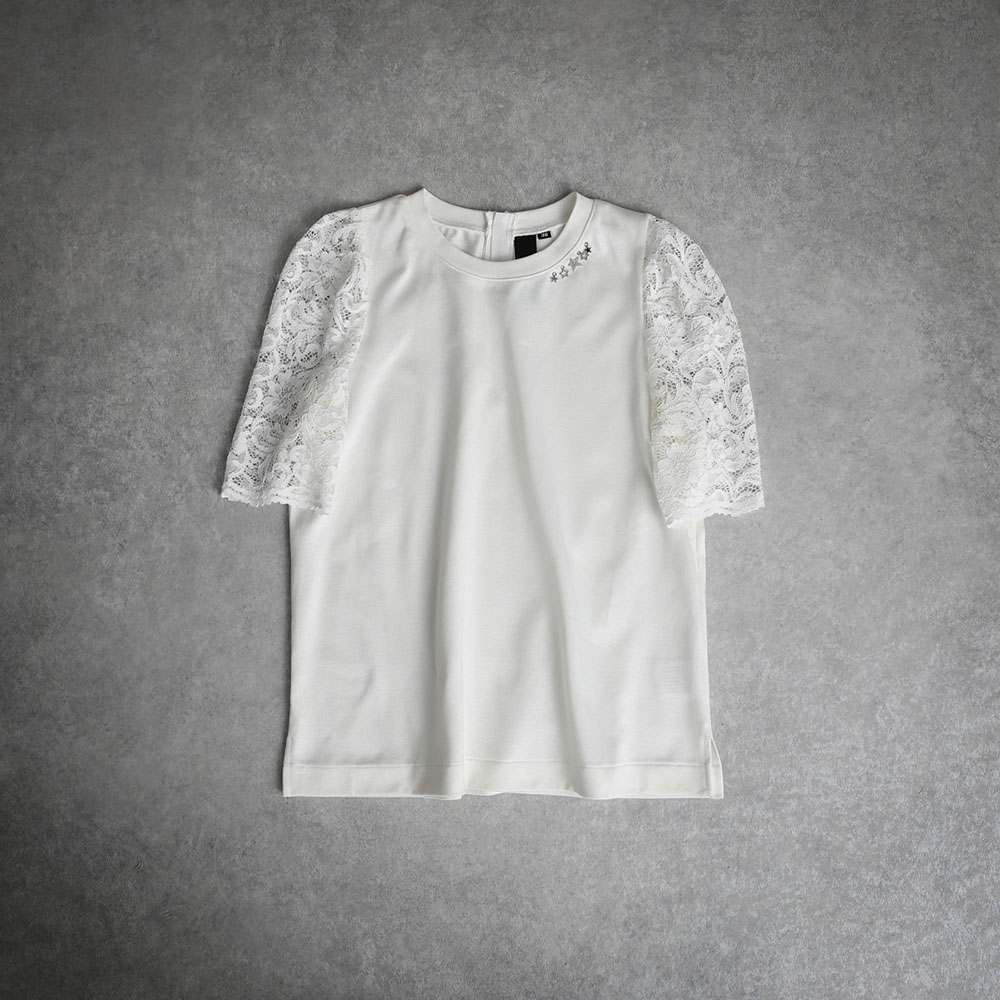 『Suvin Gold』 Lace sleeve tee WHITE画像