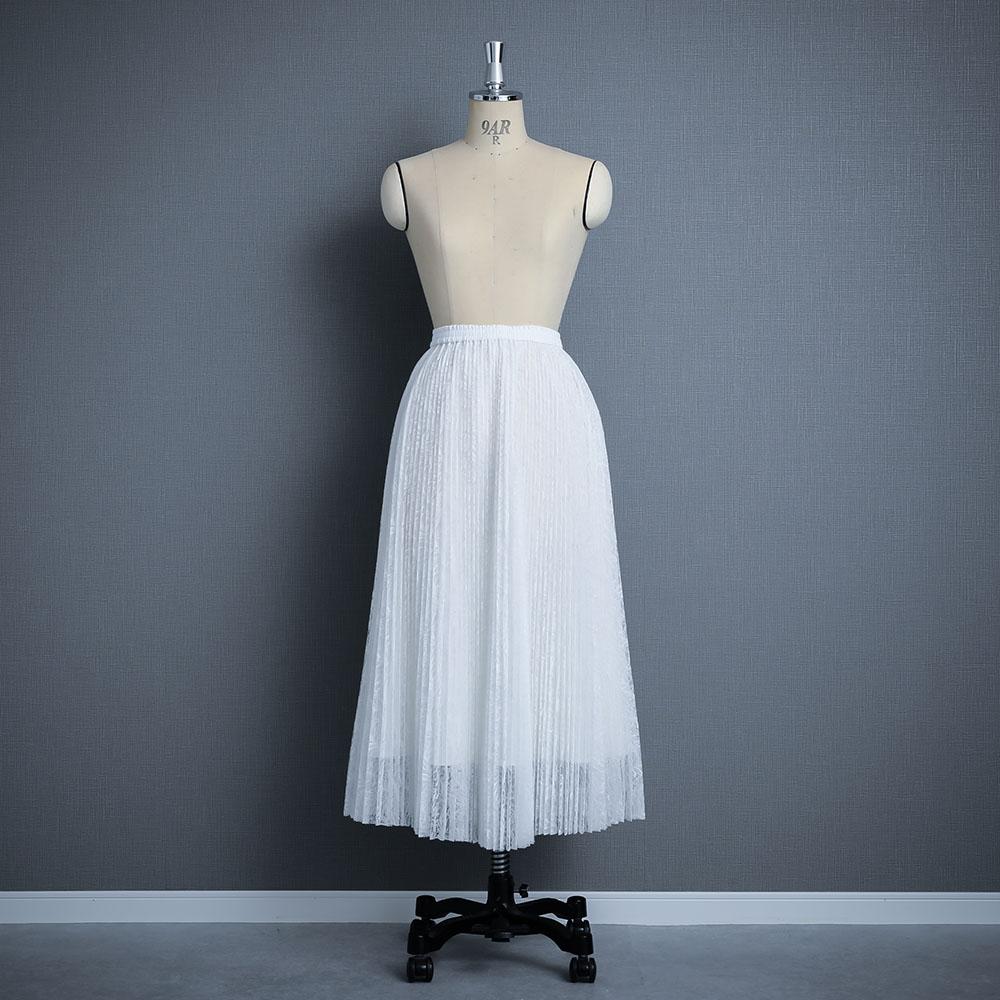 『Lace pleats』 Long skirt WHITE画像