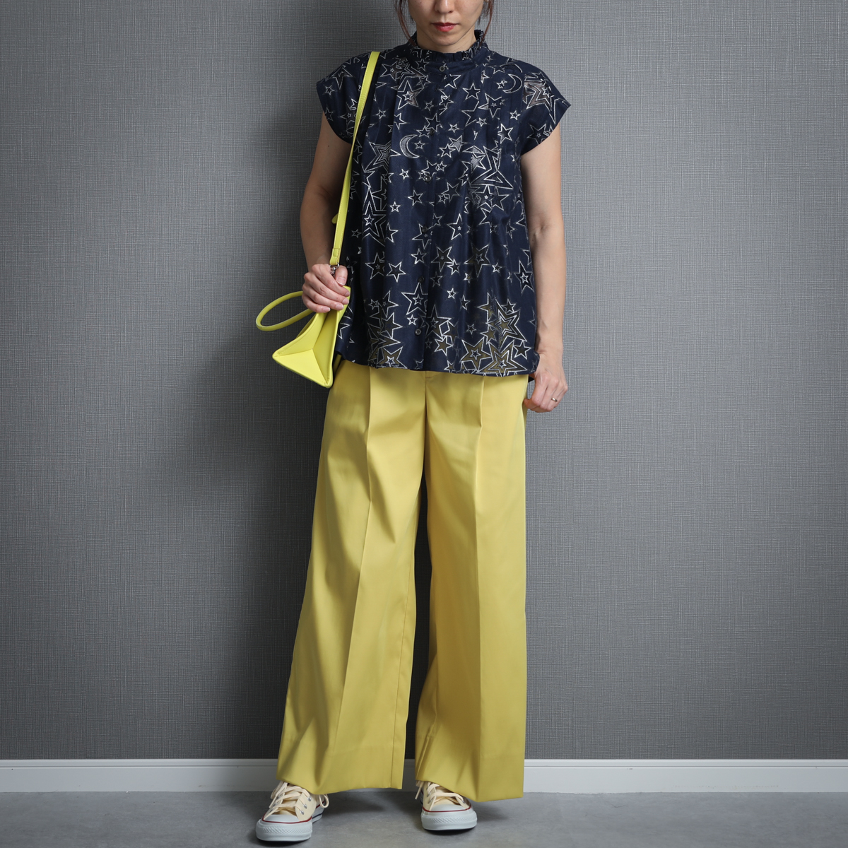 『Stretch jacquard twill』 Wide pants YELLOW画像