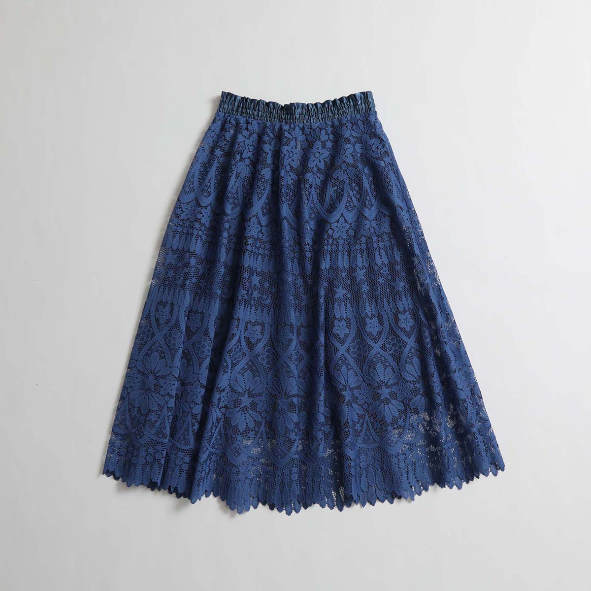 『HYERES LACE 』 Circular skirt BLUE×NAVY画像