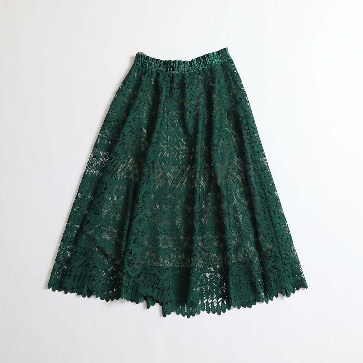 『HYERES LACE 』 Circular skirt GREEN×KHAKI画像