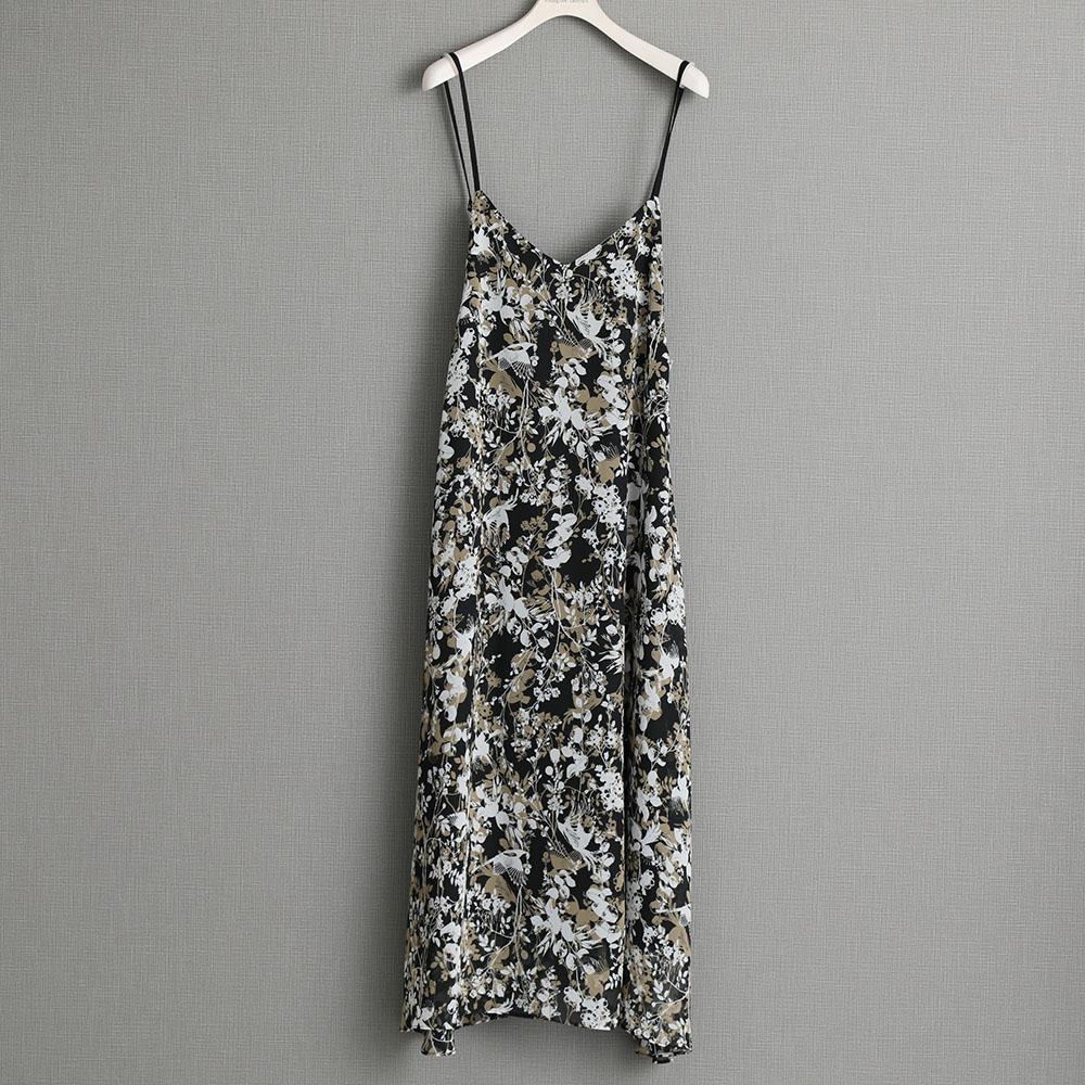 『Jewel thief chiffon』 Camisol dress BLACK画像