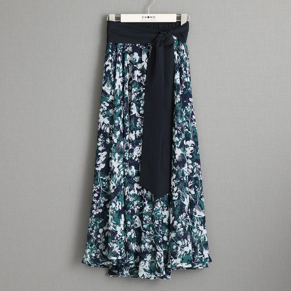『Jewel thief chiffon』 Long skirt NAVY画像