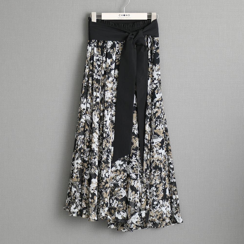 『Jewel thief chiffon』 Long skirt BLACK画像