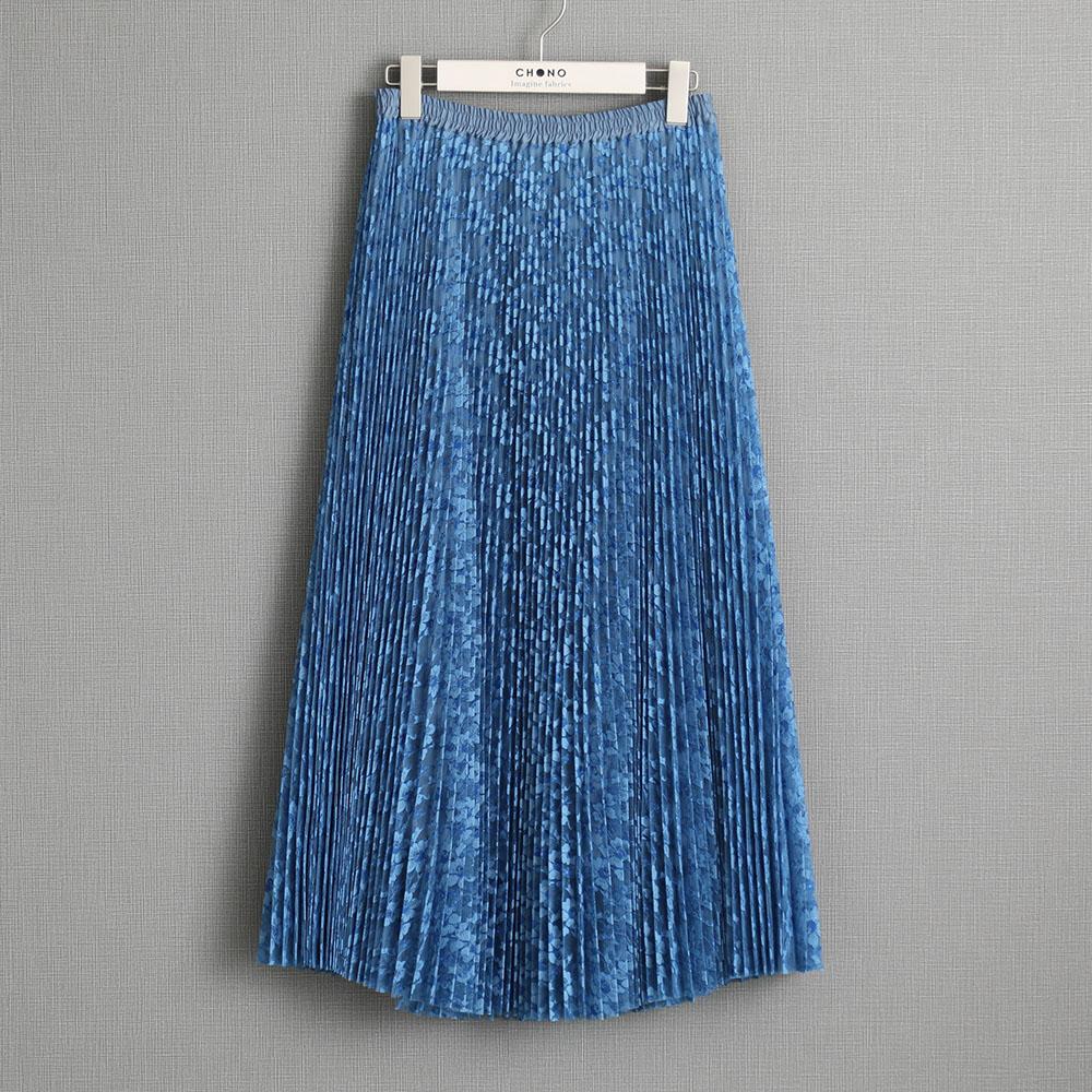 『Botanical lace』 Long skirt LIGHT BLUE画像