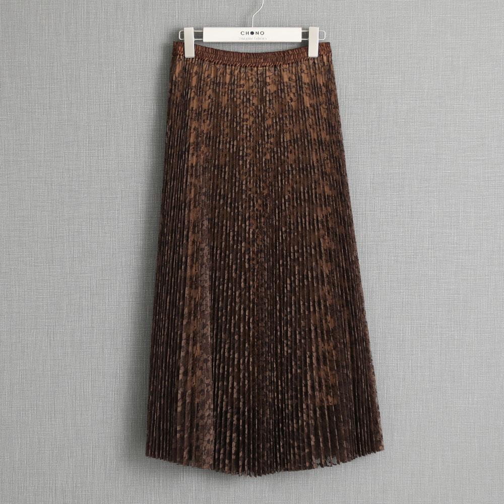 『Botanical lace』 Long skirt BROWN画像