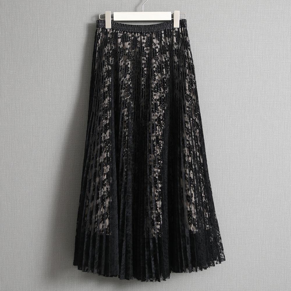 『Botanical lace』 Long skirt BLACK画像