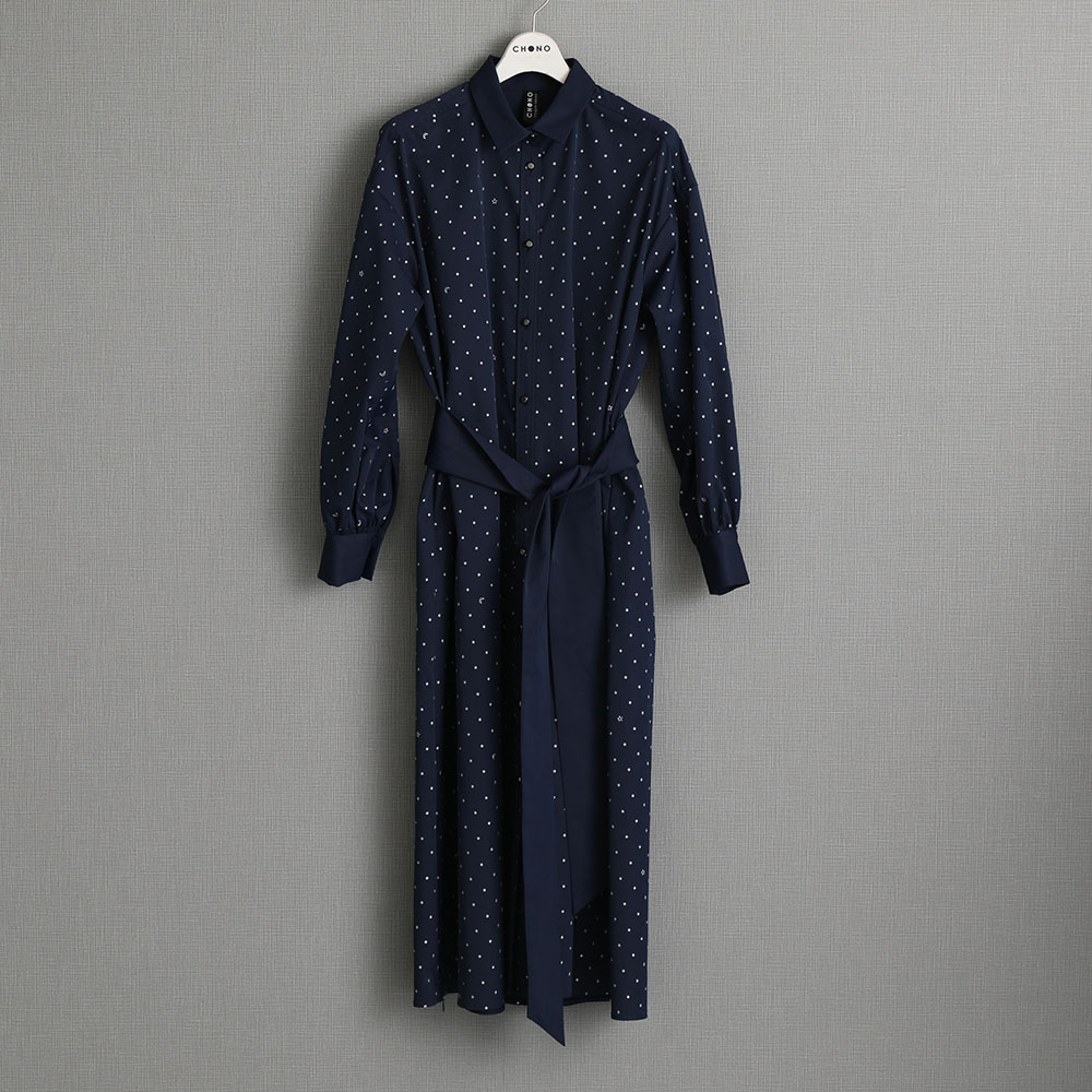 『Stella dot twill』 Long shirts one-piece NAVY画像