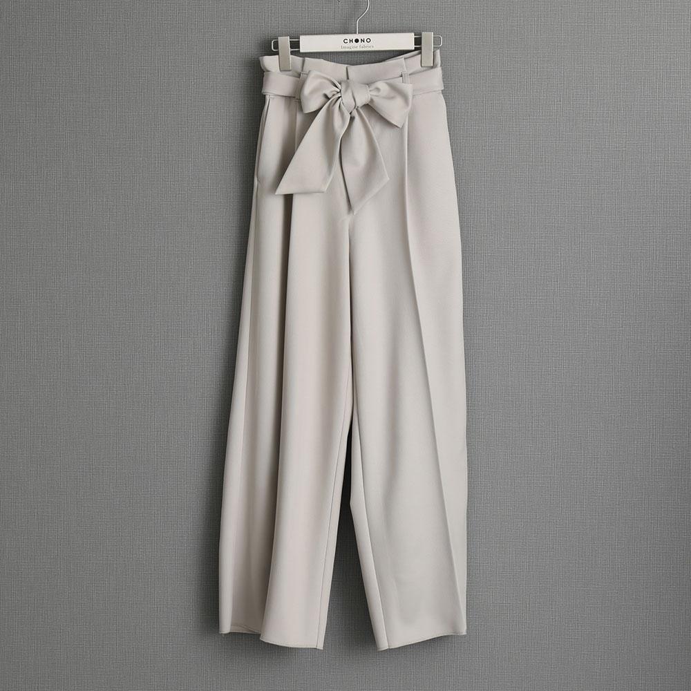 『Wet twill』 Wide pants IVORY画像