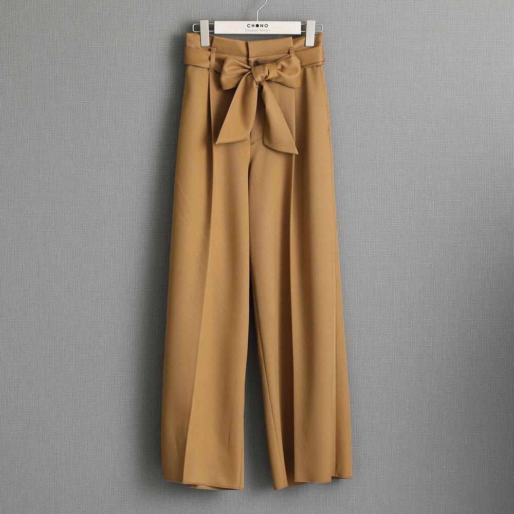 『Wet twill』 Wide pants CAMEL画像