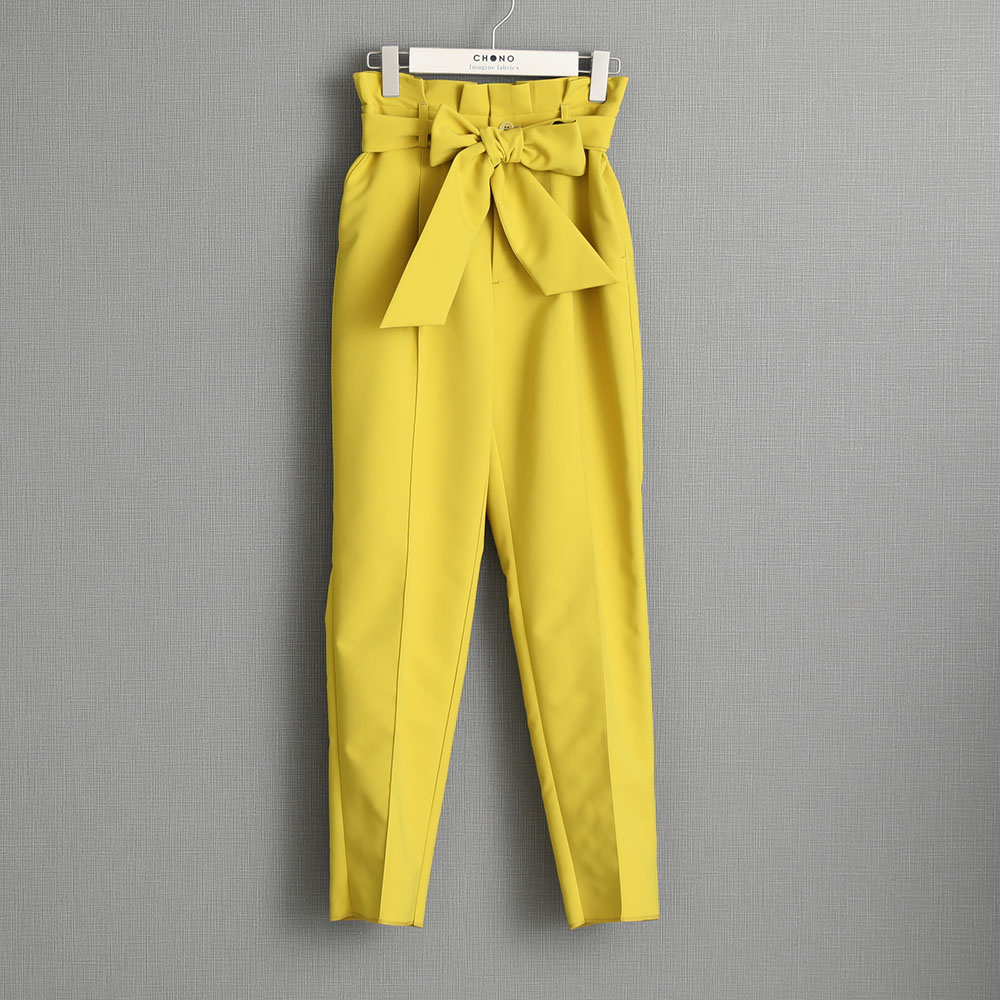 『Refine double cloth』 tapered Pants YELLOW画像