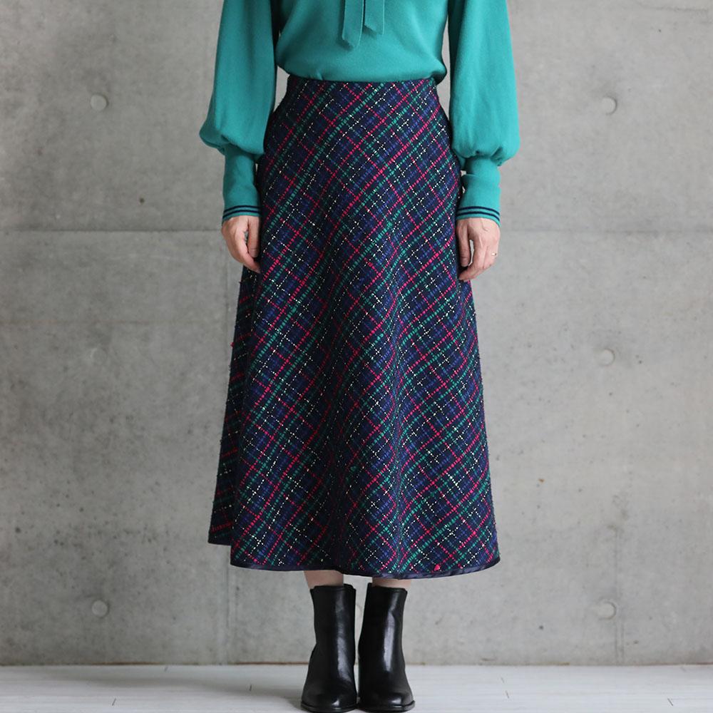 11月上旬お届け予定『Monal tweed』 Circular skirt NAVY画像