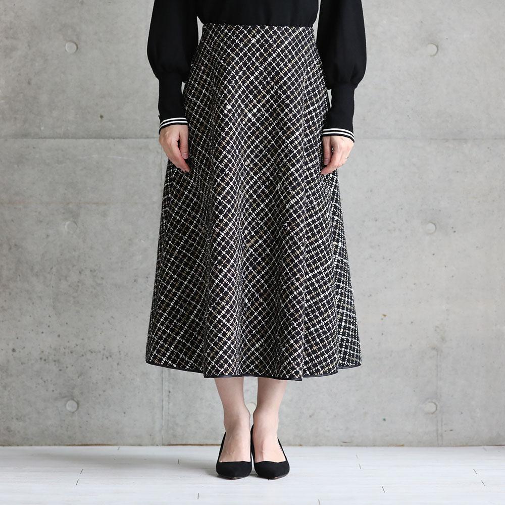11月上旬お届け予定『Monal tweed』 Circular skirt BLACK画像